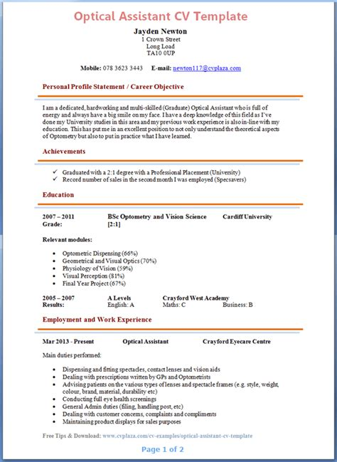 Optician Assistant Resume Sle by Optical Assistant Cv Exle