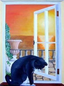 Fenster Abdichten Acryl : katze im fenster acryl auf leinwand 60x80 cm ~ Frokenaadalensverden.com Haus und Dekorationen