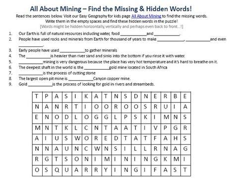 mining worksheet  earth science  kids hidden