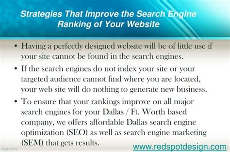 Increase Search Engine Ranking by Ppt How Redspotdesign Can Increase Your Website S