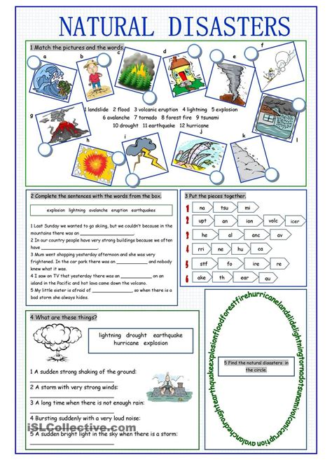 natural disasters vocabulary exercises  images