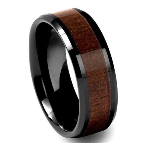 black tungsten carbide walnut inlay 8mm beveled wedding band ring sr113 ebay