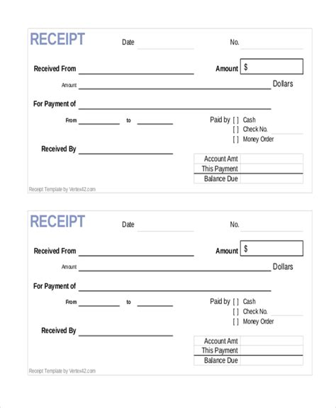 sample payment receipt forms  ms word  ms