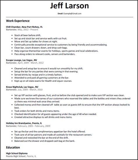 18663 bartending resume templates bartender server
