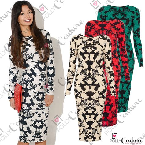 Womens White Floral Print Vintage Ladies Bodycon Long