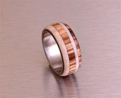antler ring titanium ring with wood zebra deer antler band