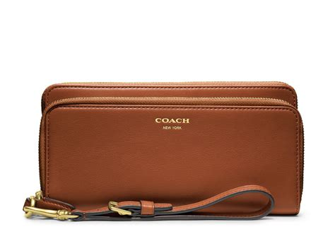 coach legacy double accordian zip wallet  leather