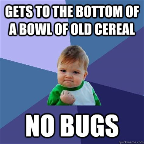Cereal Bowl Meme - gets to the bottom of a bowl of old cereal no bugs success kid quickmeme
