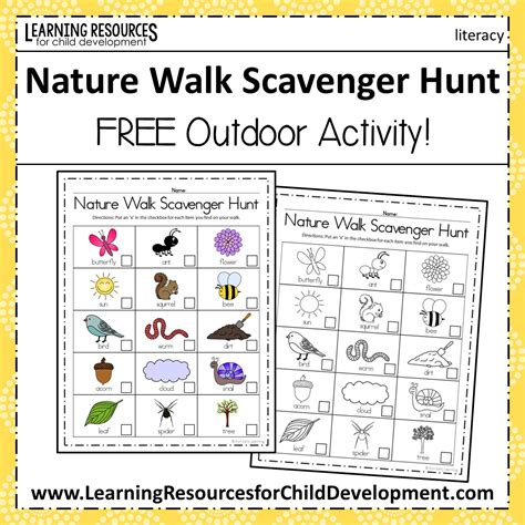 nature walk scavenger hunt activity and summer 194 | Preview Pics