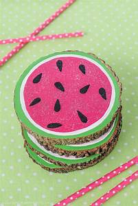 Wooden, Watermelon, Coasters, U00b7, How, To, Paint, A, Painted, Coaster, U00b7, Decorating, On, Cut, Out, Keep