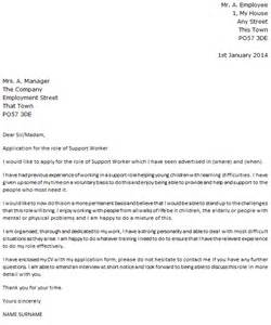 family support worker resume cover letter support worker cover letter exle cover letters and cv exles