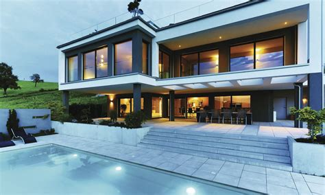 Moderne Häuser Flachdach Hanglage by Fertighaus Weberhaus Holzbauweise Villa Pool
