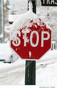 Heavy Snow And Stop Sign Stock Photo I1322396 At Featurepics