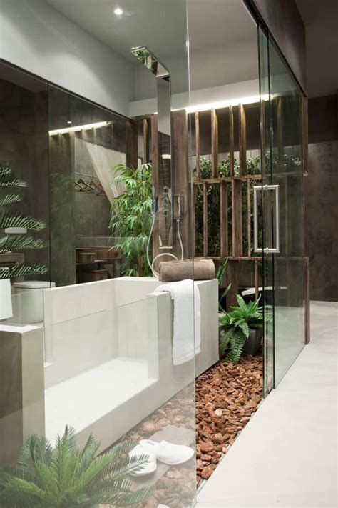 exotic indoor garden surrounding  zen inspired bath