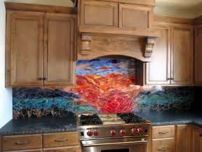 designer kitchen backsplash glass mosaic sunset mural designer glass mosaics
