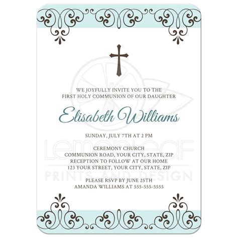 Pale muted blue and brown First Holy Communion invite