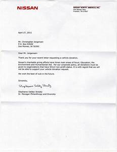 jackass letters dear nissan With vehicle donation request letter