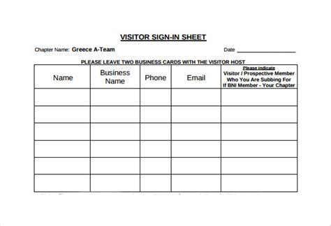 sample visitor sign  sheet  documents  word