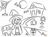 Halloween Coloring Scene Pages Printable Drawing Print Coloringonly Categories Game sketch template