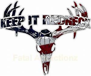 Keep It Redneck American Flag Deer Skull S4 Vinyl Sticker