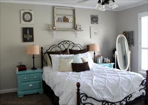 tattered  inked aqua tangerine master bedroom redo