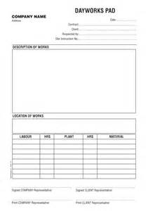 Day Sheet Template Free Day Works Form Templates Day Works Form 40 Ncr Work Form