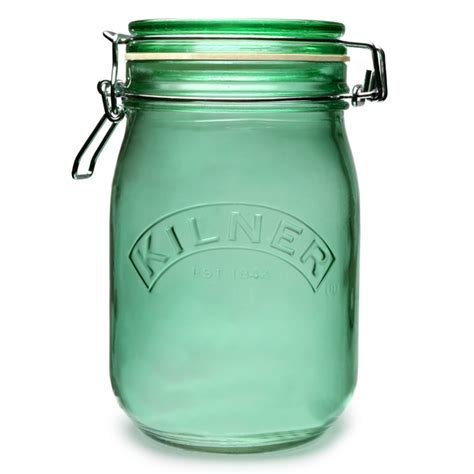 Kilner Round Clip Top Jar Green 1ltr