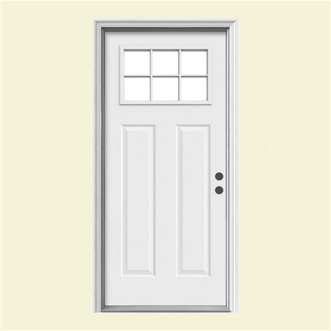 steel entry door home depot jeld wen 33 438 in x 81 75 in 6 lite craftsman primed