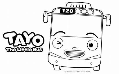 Tayo Mewarnai Gambar Bus Sketsa Mobil Kartun