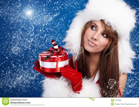 Santa Claus With Maiden In Bright Clothes Stock Wearing Santa Claus Clothes Royalty Free Stock