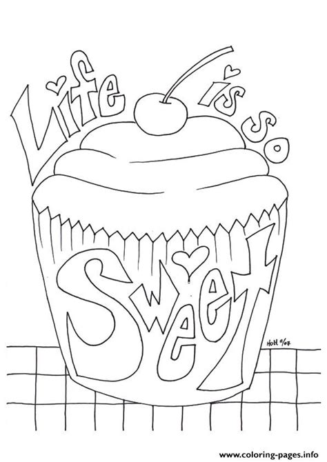 color messages the cupcake with a message sweet coloring pages printable