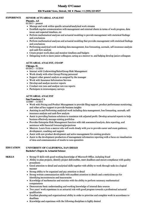 Actuary Resume by Actuarial Analyst Resume Sles Velvet