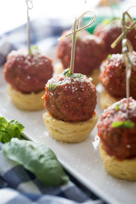 easy spaghetti and meatball appetizers by pretty providence