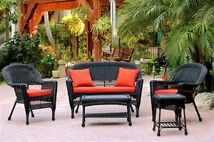 5-piece, Black, Resin, Wicker, Patio, Chair, Loveseat, U0026, Table, Furniture, Set, -, Red, Cushions