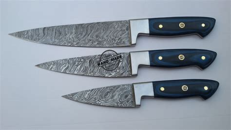 made kitchen knives lot of 3 pcs damascus kitchen chef 39 s knife custom handmade