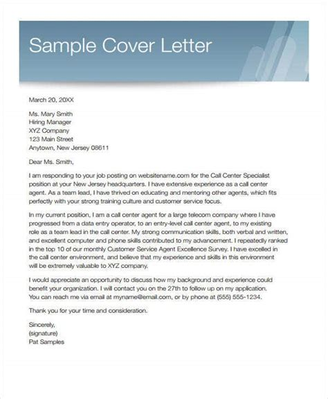 customer service cover letters   word  format