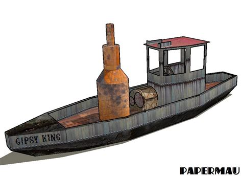 Boat Launch Steamboat by Papermau The Gipsy King Steamboat Paper Model By