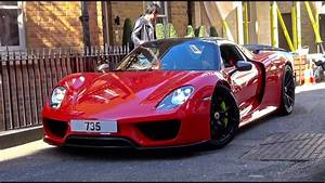 Red Porsche 918 Spyder from Qatar Driving in London! - YouTube  Red