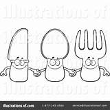 Silverware Coloring Template Illustration sketch template
