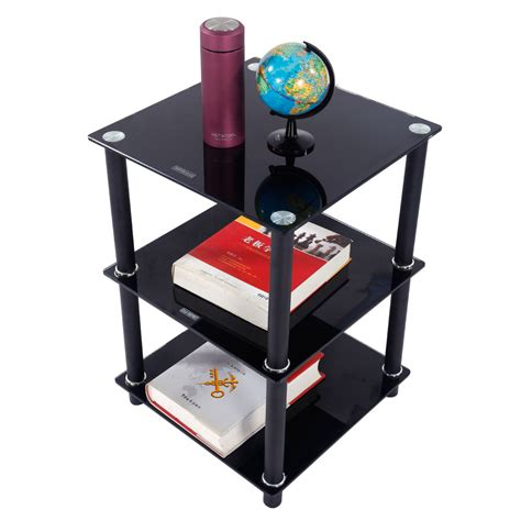 Living Room Side Stand by Black 3 Tier Square Glass Side Table Stand Living Room