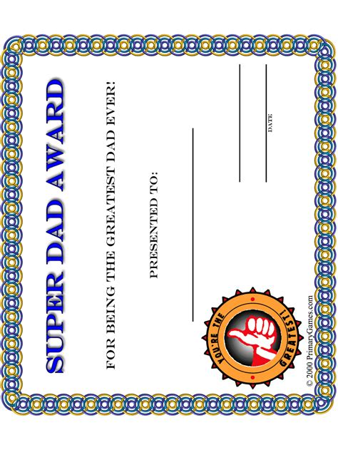 fathers day crafts super dad award certificate primarygames play   games