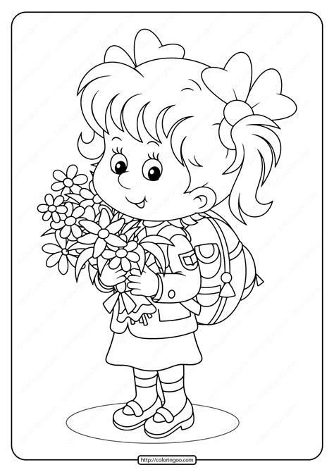 girl holding spring flowers  coloring page