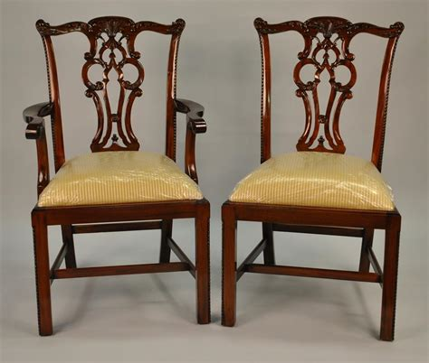 chippendale solid mahogany leg dining room chairs