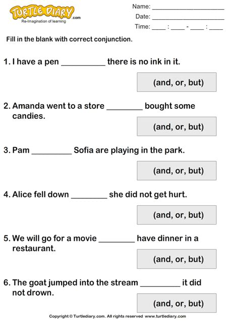 complete each sentence using but or and worksheet turtle