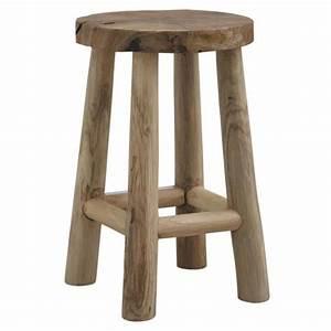 Rond En Bois : tabouret rond en bois teck rustique chalet achat vente tabouret bois teck cdiscount ~ Teatrodelosmanantiales.com Idées de Décoration