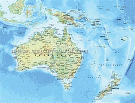 physical map  australia  bali   zealand