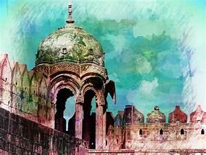 Vintage Watercolor Gazebo Ornate Palace Mehrangarh Fort