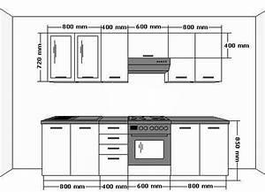 Kuche emma 260cm kuchenzeile kuchenblock variabel for Standard küchenzeile ma e