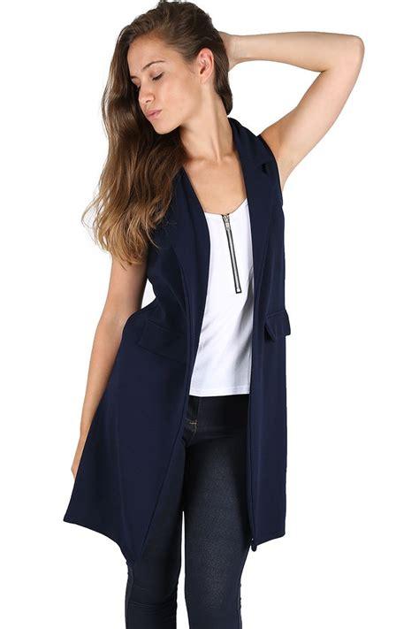 Womens Open Front Blazer Ladies Waistcoat Tuxedo Collared