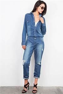 New Women Denim Jumpsuit Romper Pants Jeans Long Sleeve Button Down Tops Jumper | eBay